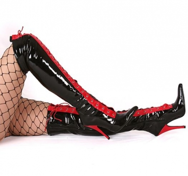 kassiopeya handel mit texitilien hartwaren lack overknee high heels schwarz mit schn rung. Black Bedroom Furniture Sets. Home Design Ideas