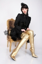 Lack Overknee High Heels gold